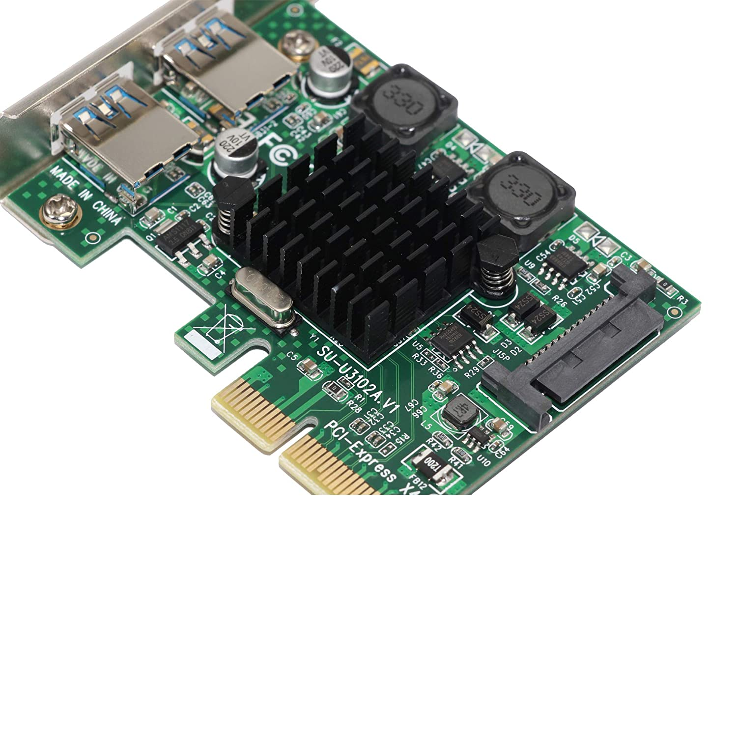 U3102A PCI-EX2 to USB3.1 Expansion Adapter Card High Speed  ASM3142 Chip for PC