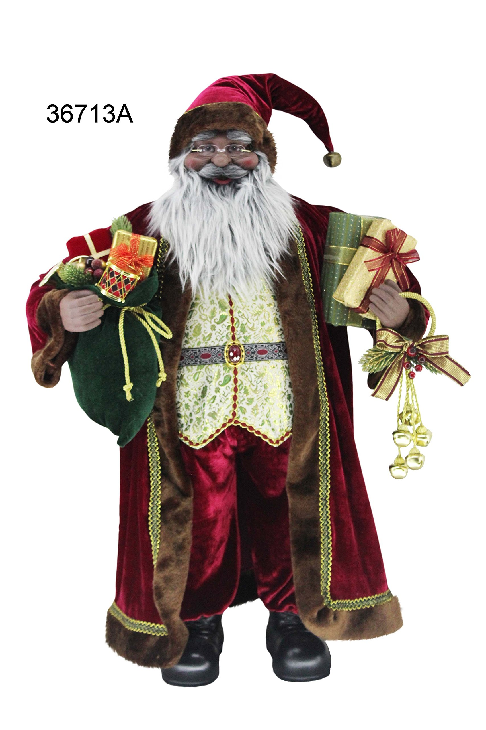 36'' Inch Standing Sensational African American Black Ethnic Santa Claus Christmas Figurine Figure Decoration 36713A