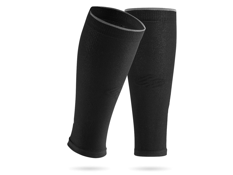SportHacks Manchons de maintien pour prot/ège-tibias et chaussettes avec effet de compression Wadenumfang 32-38cm schwarz basic III
