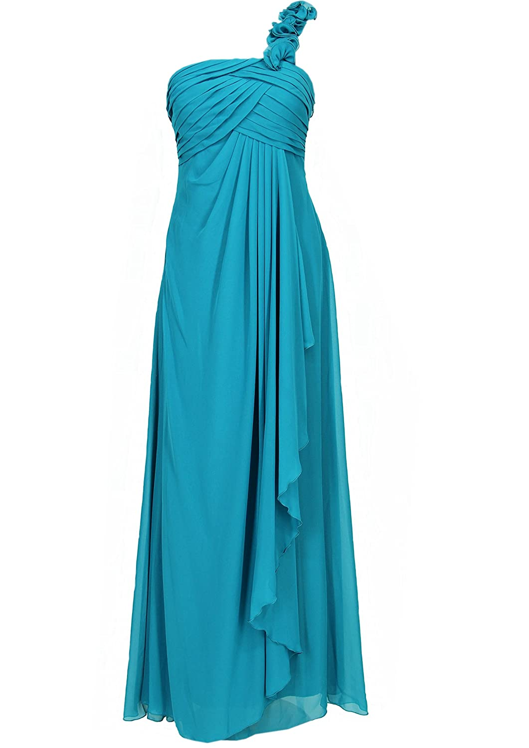 JuJu & Christine Langes Damen Chiffon Abendkleid (A2071) one shoulder vers. Farben Gr. 34 - 50