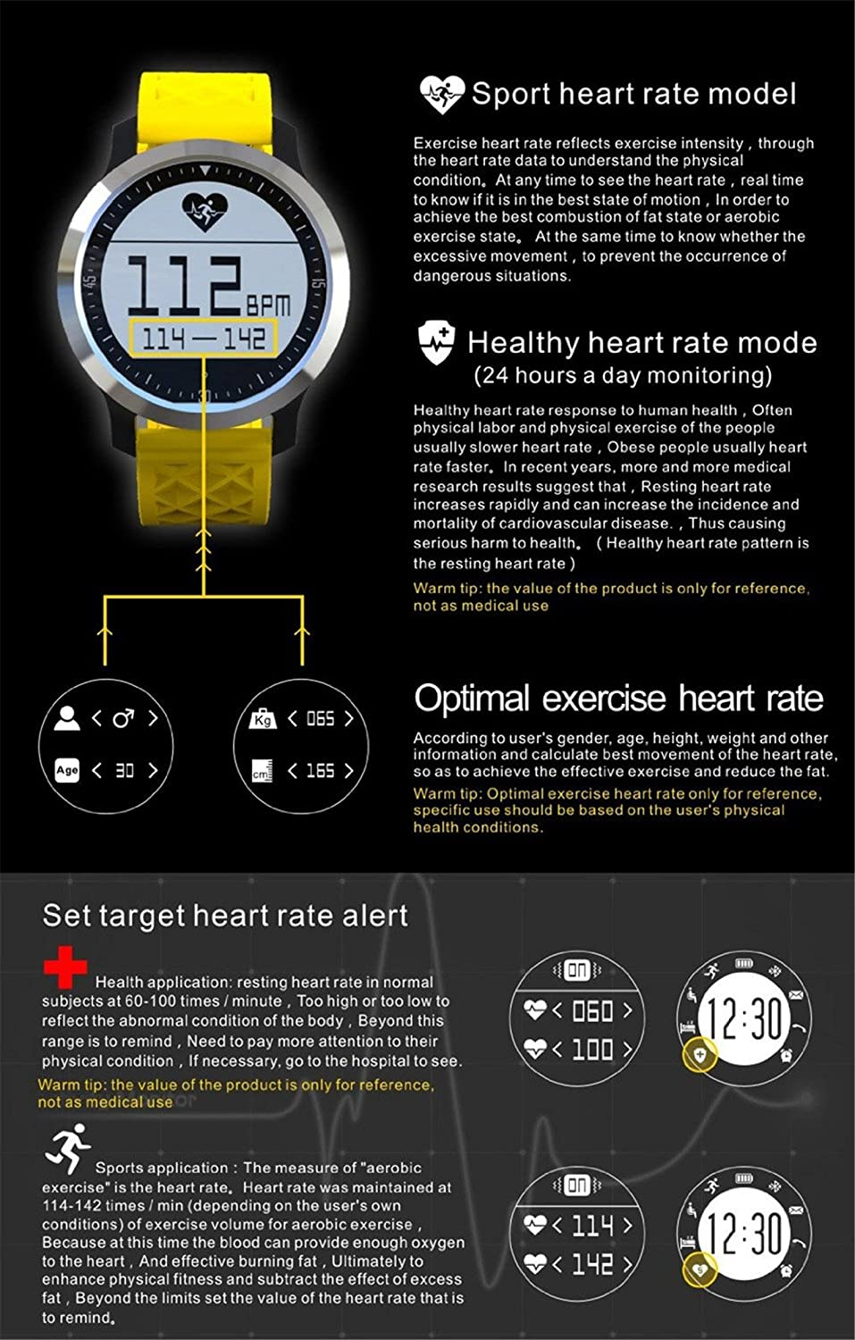 Smart Watch F69 Waterproof IP68 Smartwatch Swim Running Heart Rate Sleep Monitor for IOS Iphone Samsung HTC Android (Black)