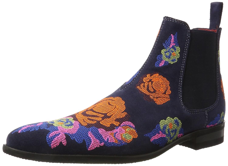 Melvin  Hamilton Herren Toni 7 Chelsea Boots Mehrfarbig (Suede Navy / Embr. Orange Blue Multi  Modica Dk. Grey)