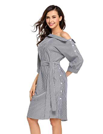 776f5668e498e Image Unavailable. Image not available for. Color  Zeagoo Women s Off  Shoulder 3 4 Sleeve Asymmetric Collar Striped Casual Shirt Dress