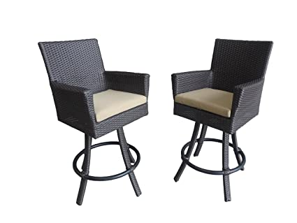 Patio Swivel Bar Stools With Back   All Weather Outdoor Wicker Bar Stool  (31u0026quot;