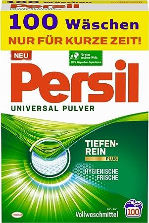 Persil Universal Pulver Waschmittel 100 Waschladungen Vollwaschmittel Mit Tiefenrein Plus Technologie Bekämpft Hartnäckigste Flecken Für Strahlende Reinheit Drogerie Körperpflege
