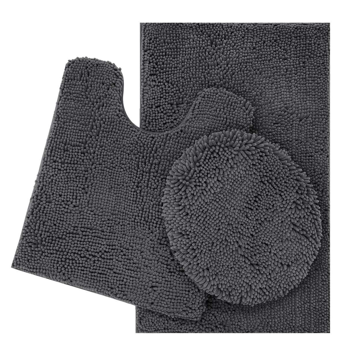 ITSOFT 3pc Non-Slip Shaggy Chenille Bathroom Mat Set, Includes U-Shaped Contour Toilet Mat, Bath Mat and Toilet Lid Cover, Machine Washable, Charcoal Gray by ITSOFT