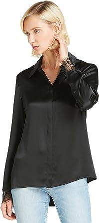 LilySilk Camisa Mujer de Seda de 22MM Puño con Encaje, Negro ...