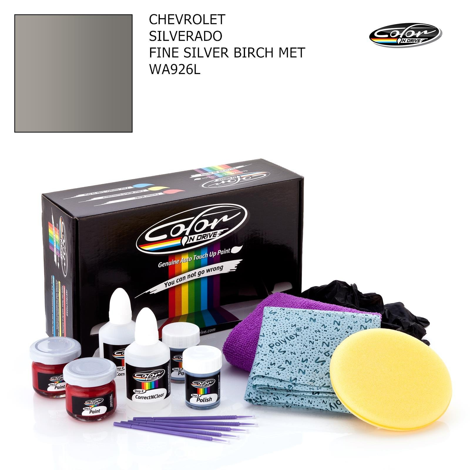 CHEVROLET SILVERADO / FINE SILVER BIRCH MET - WA926L / COLOR N DRIVE TOUCH UP PAINT SYSTEM FOR PAINT CHIPS AND SCRATCHES / PRO PACK