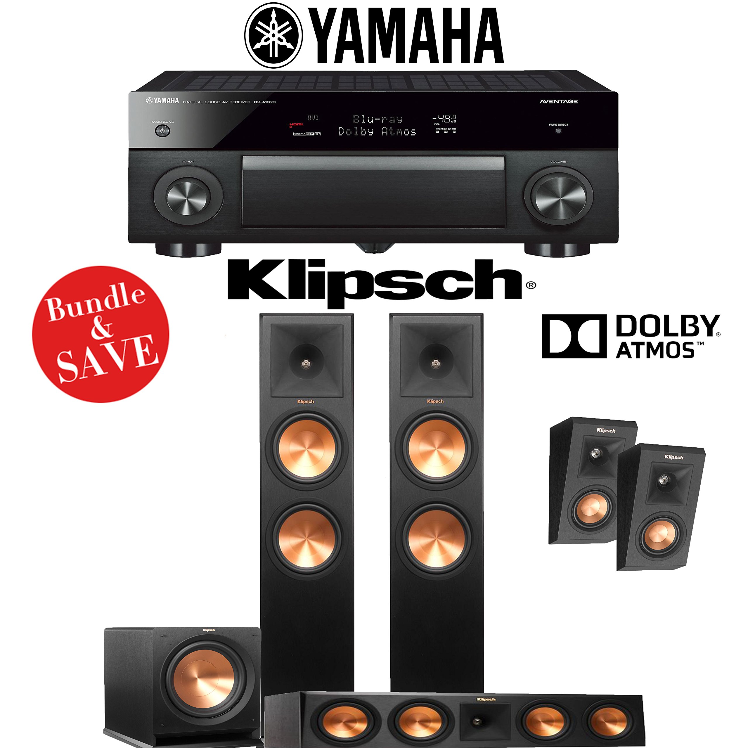 Klipsch RP-280F 3.1.2 Reference Premiere Dolby Atmos Home Theater System with Yamaha AVENTAGE RX-A1070BL 7.2-Channel Network AV Receiver by Klipsch