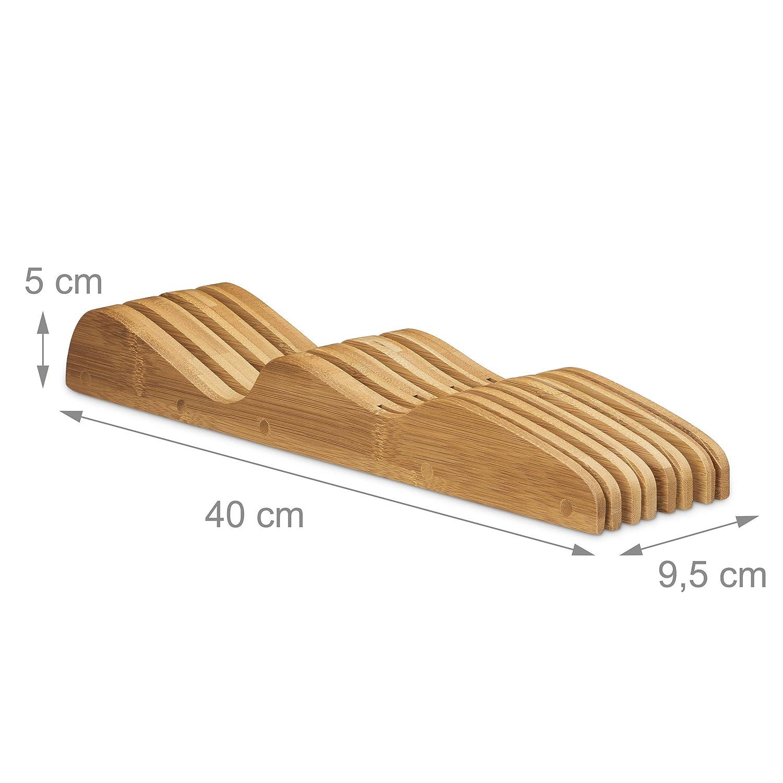 Madera sin Cuchillos para el caj/ón 6 x 14 x 40 cm Color Natural Hecho de bamb/ú para 9 Relaxdays Soporte Universal 6 x 40 x 14 cm