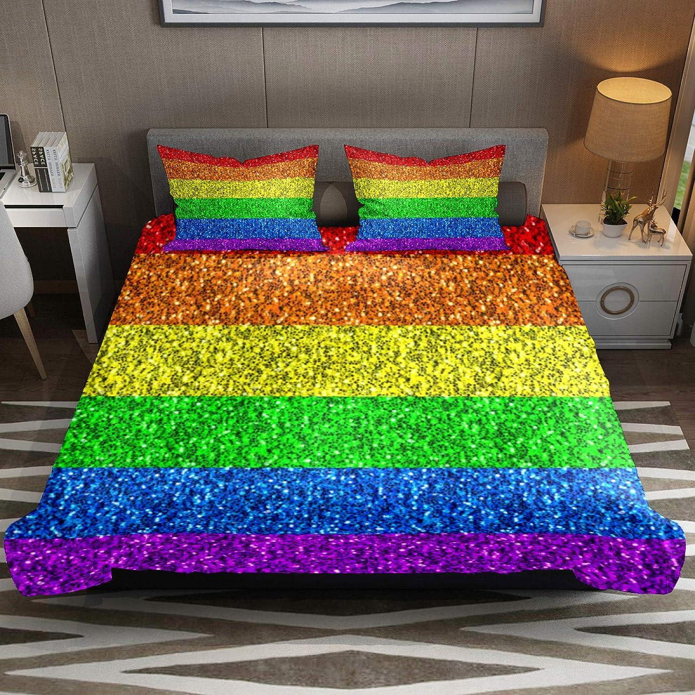 N\O LGBT - Juego de ropa de cama de lona transpirable de 3 piezas (1 funda de edredón + 2 fundas de almohada), decoración de habitación de microfibra ultrasuave (no incluye edredón)
