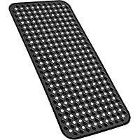 YINENN Bath Tub Shower Mat 27.7x15.7 Inch Non-Slip and Phthalate Latex Free,Bathtub Mat with Suction Cups, Machine Washable XL Size Bathroom Mats with Drain Holes (Black)