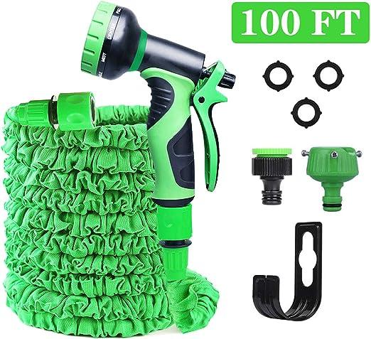 Manguera de Jardín Extensible, 100FT/30M Manguera Extensible Mangueras de Jardín con 10 Funciones Manguera de Jardín Extensible Flexible Para el Lavado de Automóviles, Riego de Jardines (100FT, Verde): Amazon.es: Jardín