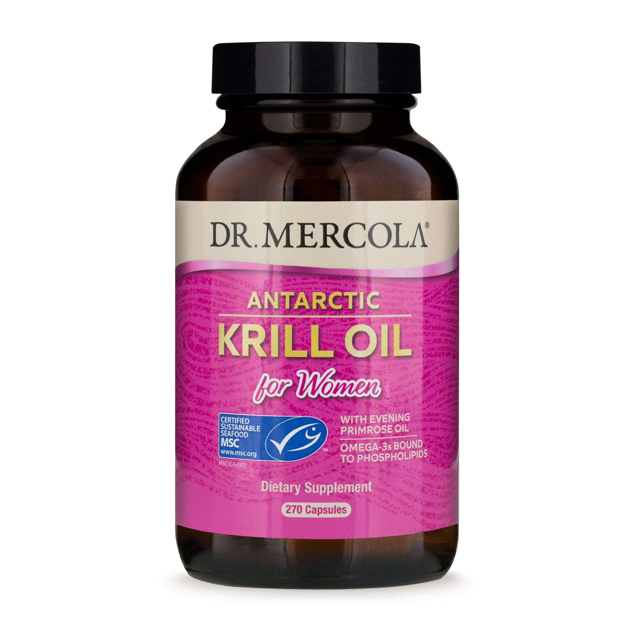 Dr. Mercola Antarctic Krill Oil for Women with Evening Primrose Oil, 90 Servings (270 Capsules),Source of Omega 3 Fatty Acids, MSC Certified, Non GMO, Soy-Free, Gluten Free