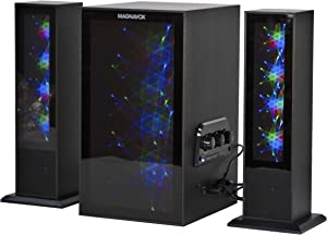 MAGNAVOX MHT990 2.1 Home Theater System with Bluetooth Wireless Technology and Color Changing Lights in Black | AUX Port | Subwoofer with 2 Speakers | Pulsing Lights |