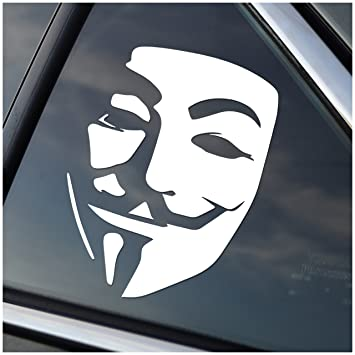 Amazoncom Anonymous Guy Fawkes Vinyl Car Window Decal Sticker - Car window decal stickers for guys