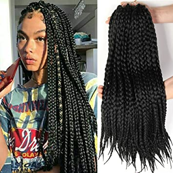 Amazon Box Braid Style crochet hair 18 inch 6 packs black