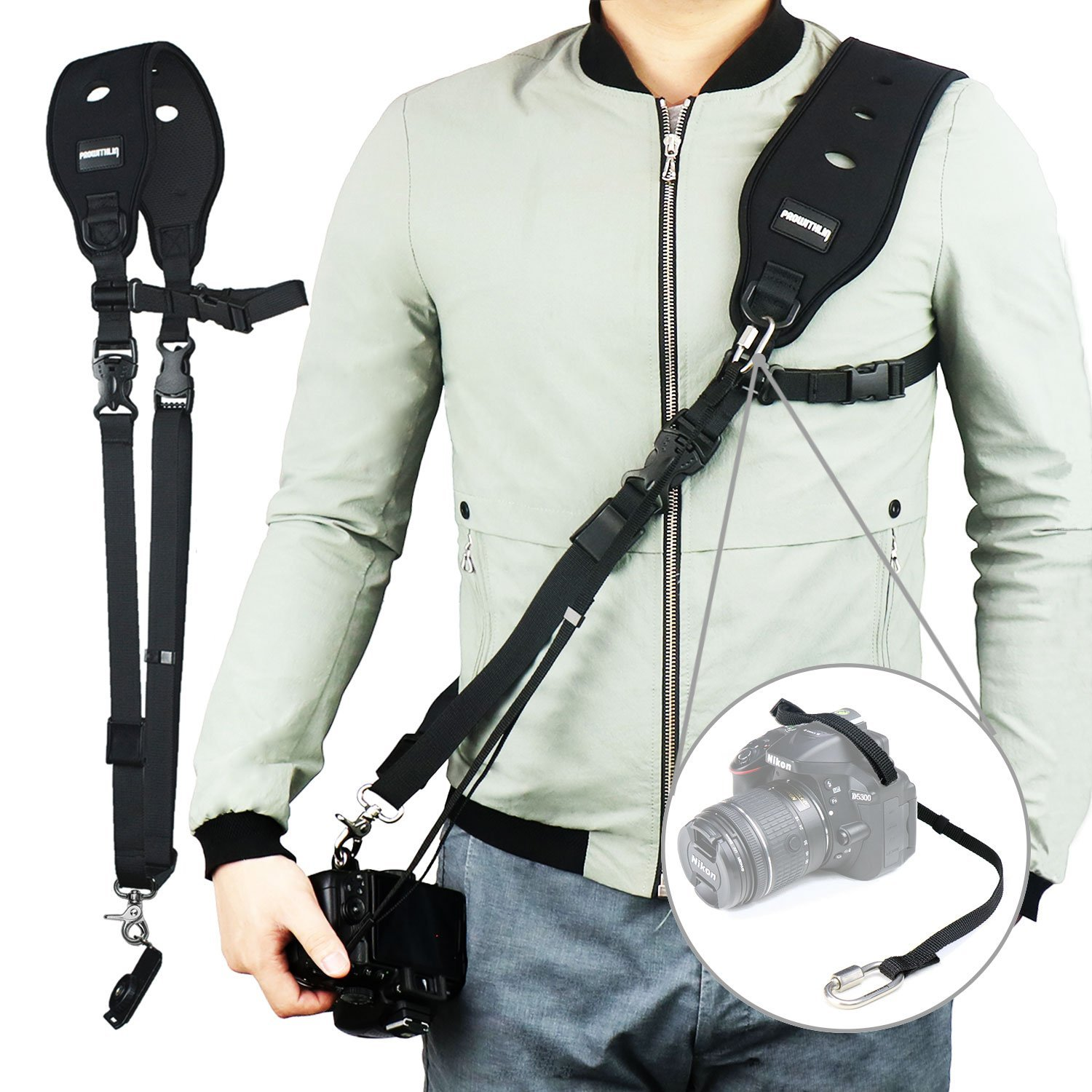 Camera Strap, Prowithlin Camera Strap for Women/Men w/Quick Realese Plate and Safety Tether (Upgraded Version)