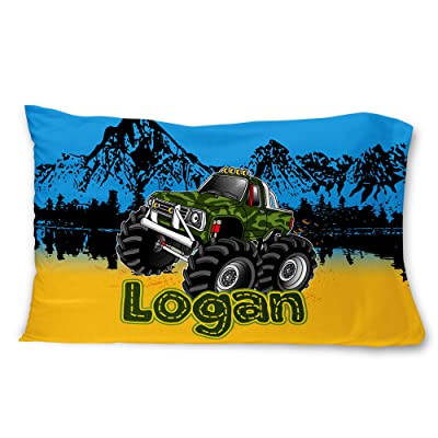 Bad Bananas Monster Trucks - Kids Custom, Personalized (Customized) Microfiber Pillowcase Gift for Boys (Pillow Cover, Sham): Home & Kitchen