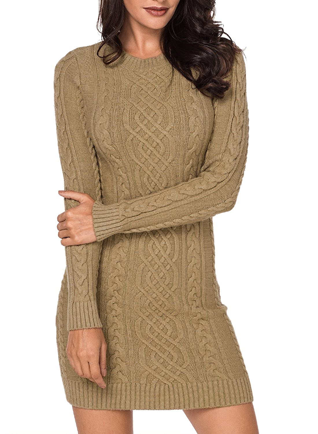 bc960c8d3ff LOSRLY Women Crew Neck Long Sleeve Cable Knit Bodycon Sweater Midi Dress at Amazon  Women s Clothing store