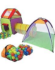 KIDUKU 3 en 1 Iglú infantil para juegos / Tienda de campaña para niños + Túnel de tela + 200 bolas + Bolsa para transportar – Uso interior y exterior