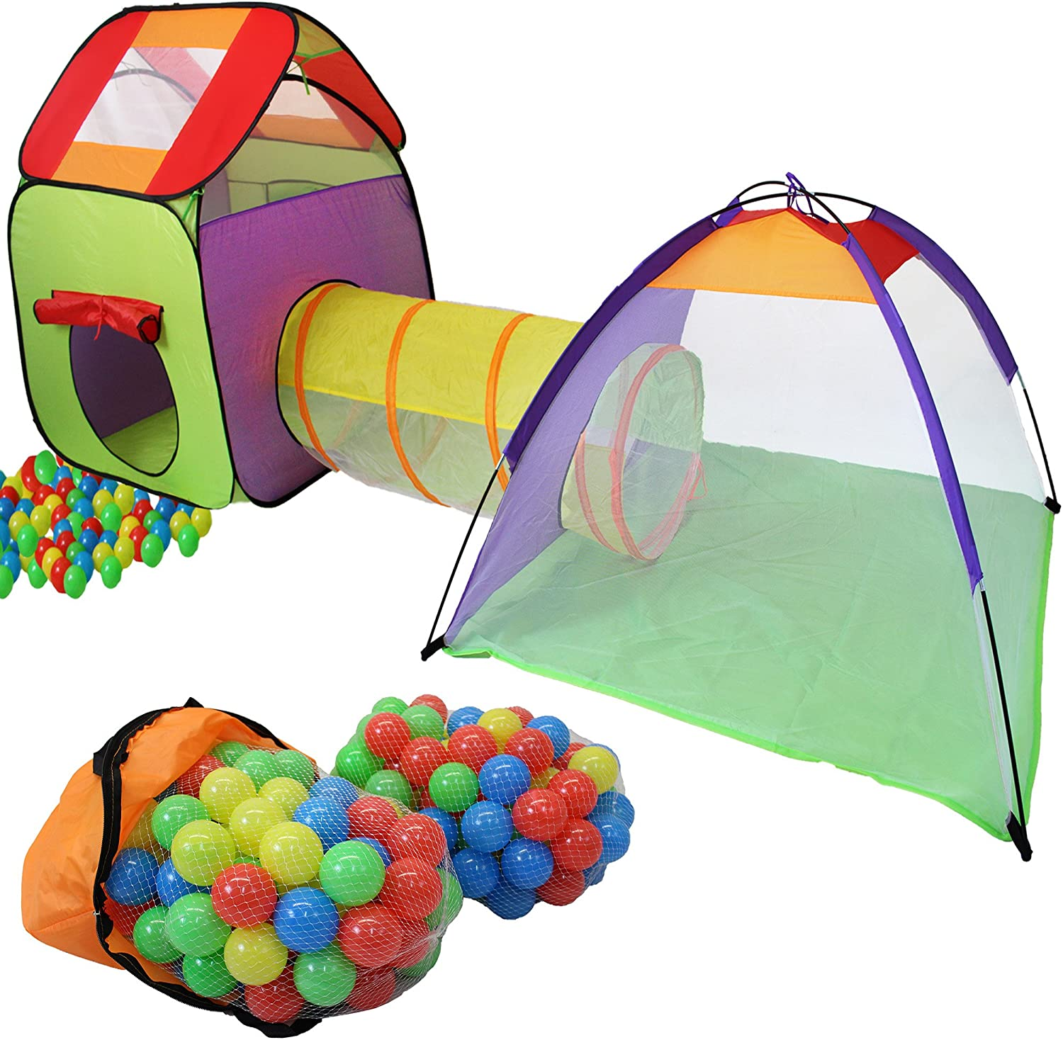 KIDUKU® Childs Play Tent with Tunnel Pop Up + 200 Balls + Pocket