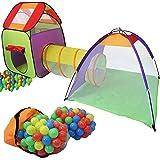 KIDUKU tente de jeu igloo avec tunnel + maison de jeu + 200 balles + étui de transport