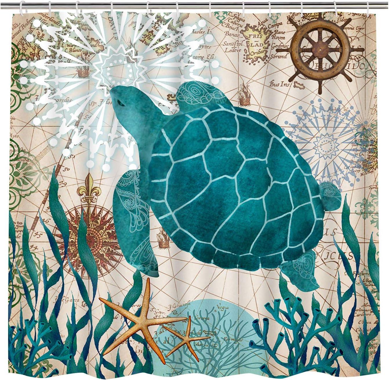 Bathroom Shower Curtain Sea Turtle Ocean Creature Landscape Shower Curtains Fabric Bathroom Curtain Durable Waterproof Bath Curtain Sets With 12 Hooks Kitchen Dining