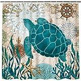 Bathroom Shower Curtain Sea Turtle Ocean Creature Landscape Shower Curtains Fabric Bathroom Curtain Durable Waterproof Bath C