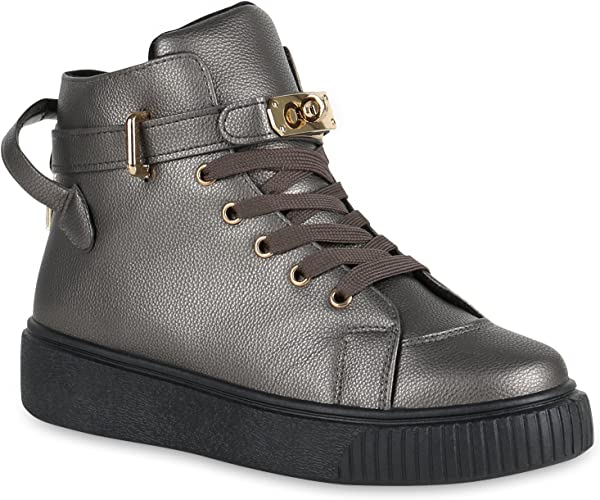 stiefelparadies Damen Sneaker high Karo Ketten Flandell