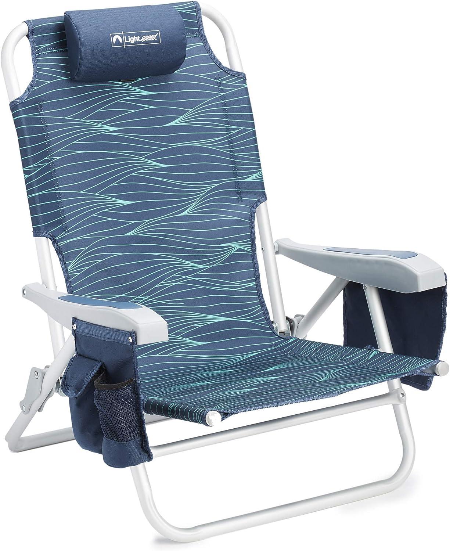 Amazon Com Lightspeed Outdoors Reclining Beach Chair Lightweight Folding Chair Blue Wave Sports Outdoors