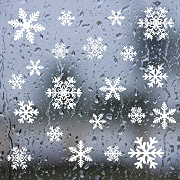 Amazoncom Shxstore Winter White Snowflakes Window Clings Decals - Snowflake window stickers amazon