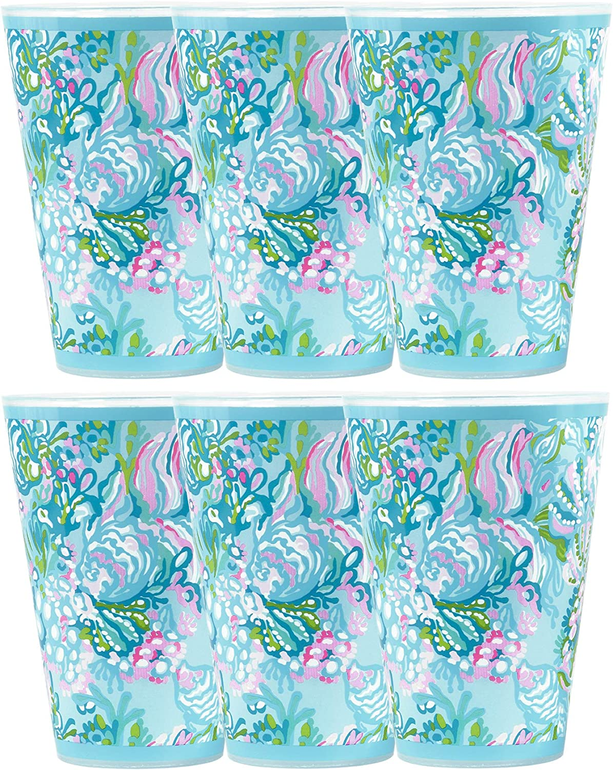 Lilly Pulitzer 14 Ounce Blue Reusable Plastic Pool Cups, Set of 6, Aqua La Vista