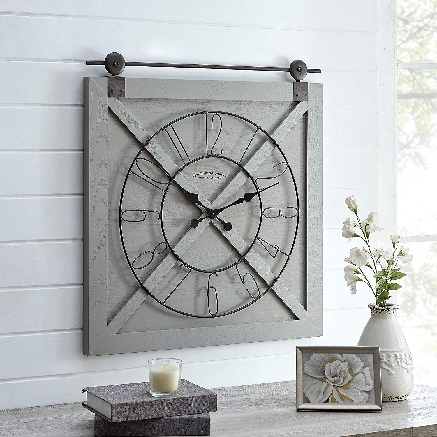 Black Farmstead Barn Door Wall Clock American Designed Black 27 x 2 x 29 inches FirsTime /& Co