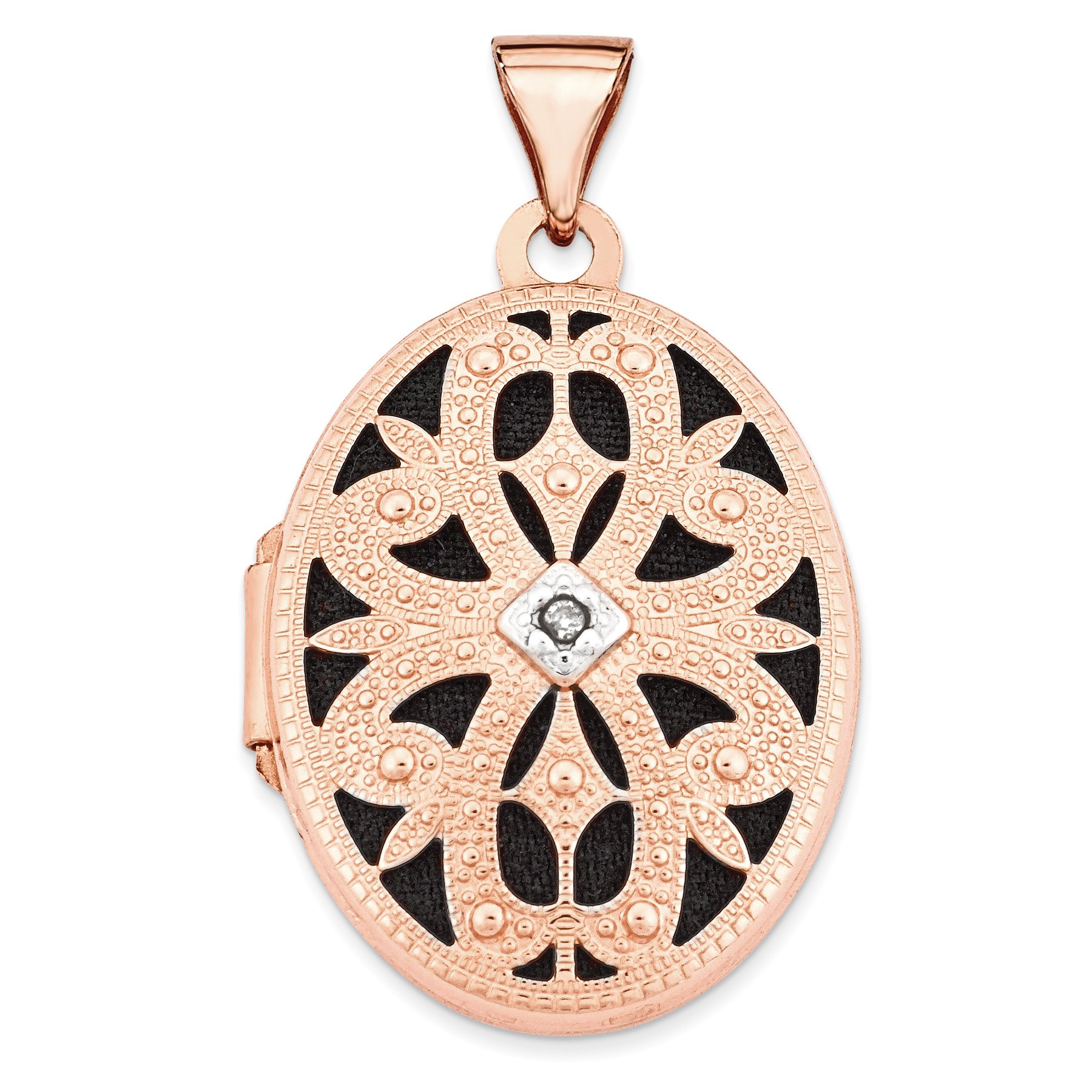 ICE CARATS 14k Rose Gold 21mm Oval Diamond Vintage Black Interior Photo Pendant Charm Locket Chain Necklace That Holds Pictures Fine Jewelry Gift Set For Women Heart