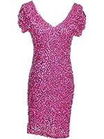 Anna-Kaci Womens Sexy Sparkly Glitter Sequin V Neck Bodycon Mini Party Dress