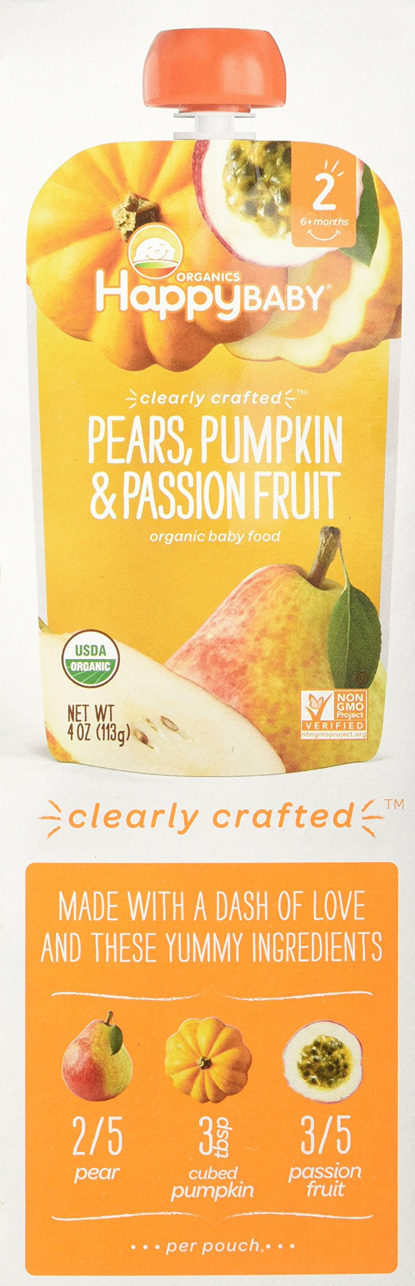 Happy Baby Stage 2 - Pears, Pumpkin & Passion Fruit - 4 oz, 8 ct by Happy Baby (Image #4)