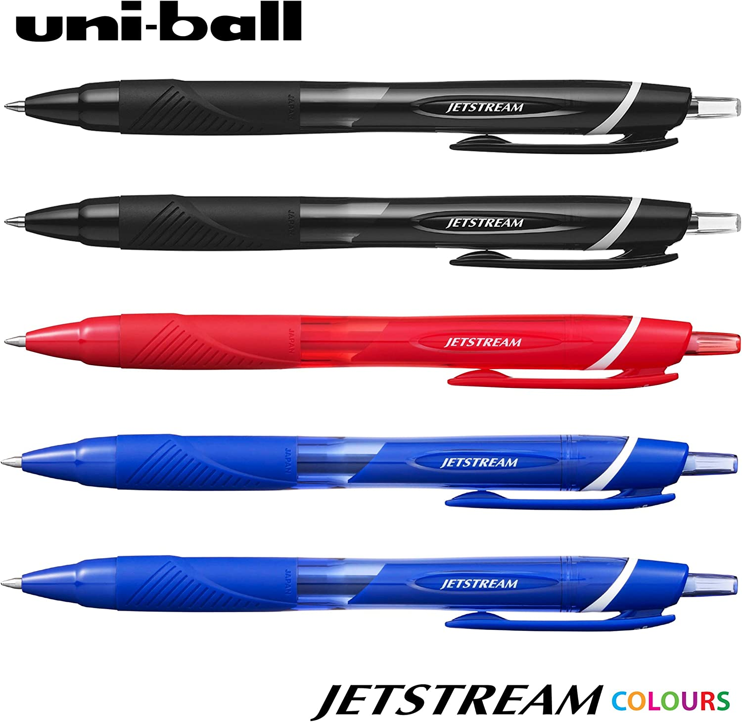 10 x Uni-Ball Jetstream Retractable Rollerball SXN-150 07 Black Ink