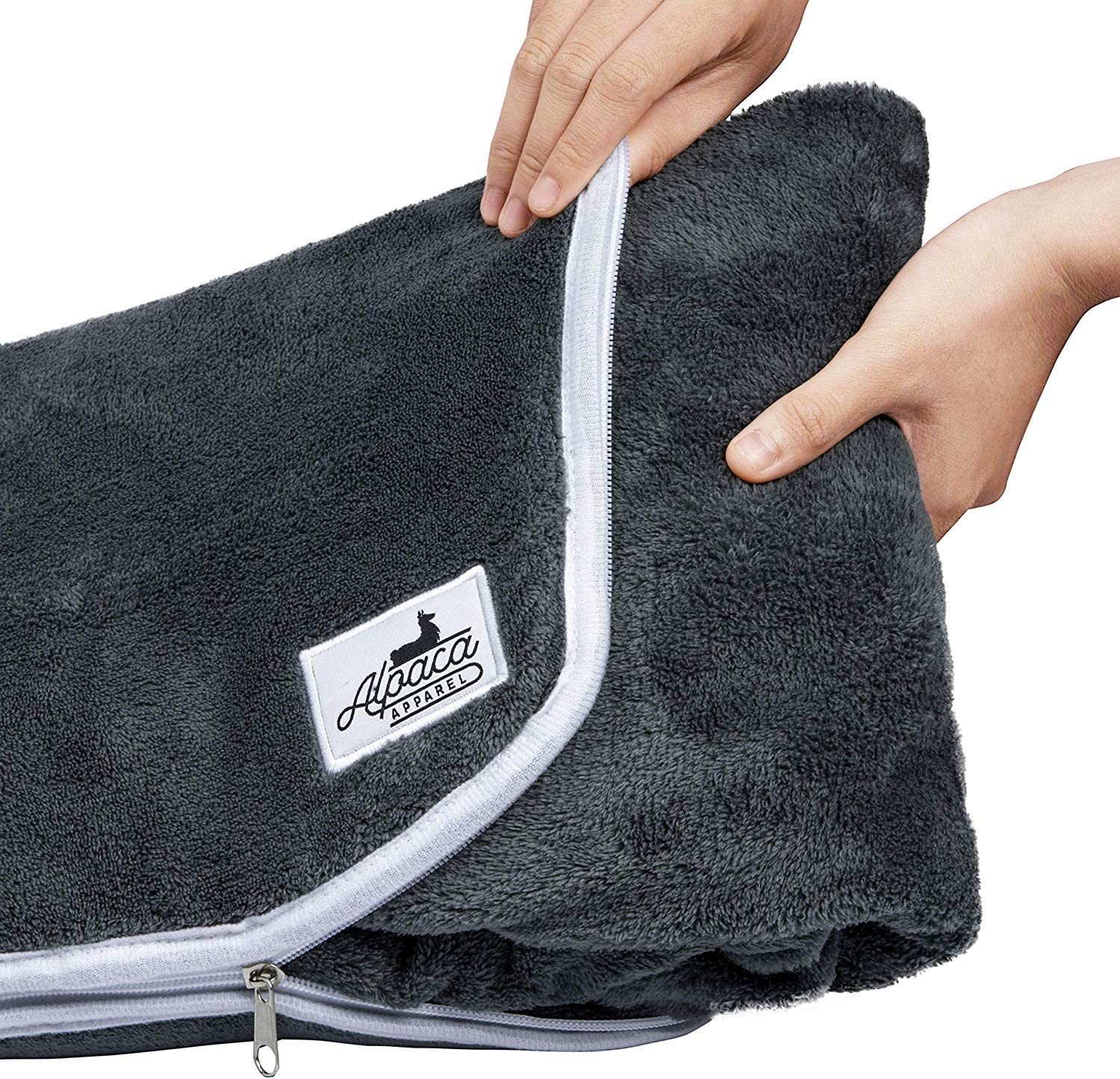AlpacaApparel Premium Compact Travel Blanket | Soft Microplush Fabric | Easy Repack and Lightweight | Luggage Belt and Backpack Strap | Airplane Plane Pillowcase 2-in-1 | Charcoal Gray