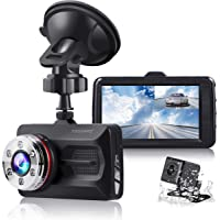 Tougard Wide-Angle Dual Dash Cam with Night Vision WDR G-Sensor Parking Monitor Loop Recording Motion Detection