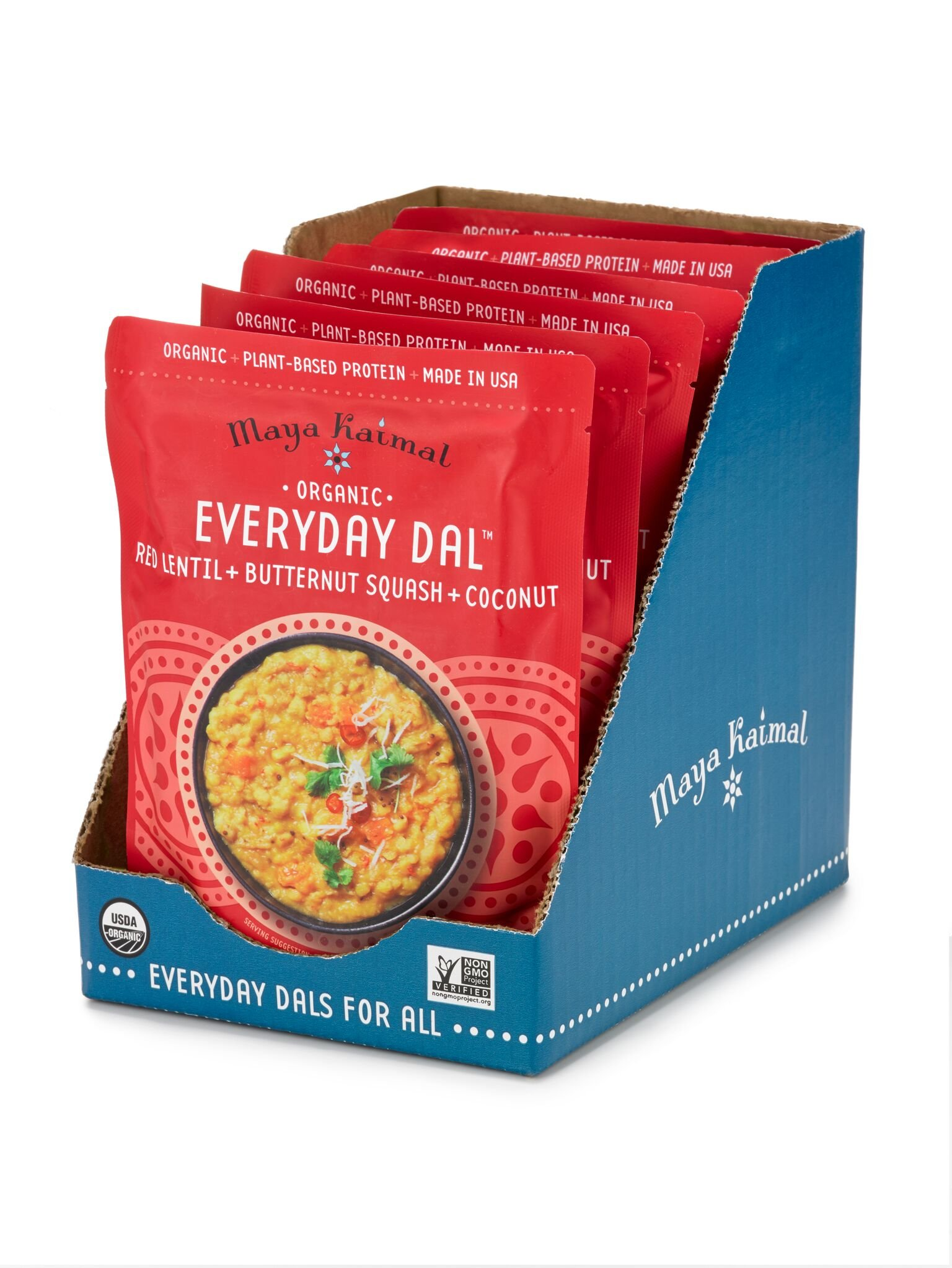 Maya Kaimal Organic Indian Red Lentil Everyday Dal, 10 oz (Pack of 6), Fully Cooked with Butternut Squash and Coconut. Vegan, Microwavable, Ready to Eat