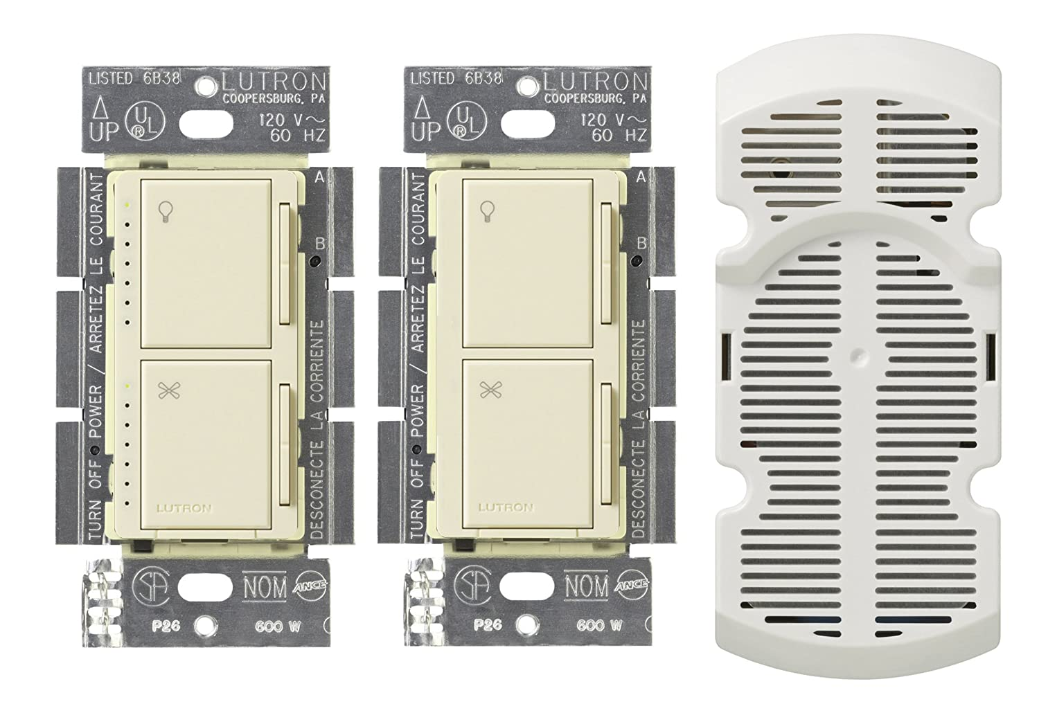 Lutron Ma Lfq3 Al Maestro 3 Way Dimmer And Fan Control Almond Ceiling With 1 Switch Wall Switches