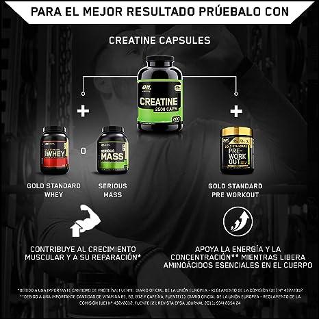 Optimum Nutrition Creatine 2500mg, Creatina en Cápsulas, Suplementos Deportivos de Creatina Monohidrato para Musculacion, Sin Sabor, 100 Porciones, ...