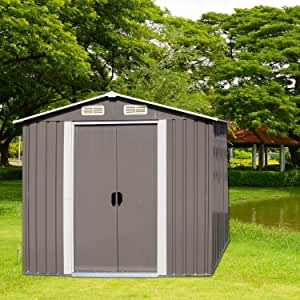 Kinbor Galvanized Steel Patio Storage Shed Utility Tool Storage Shed Outdoor House for Backyard Garden Lawn(6'x4')