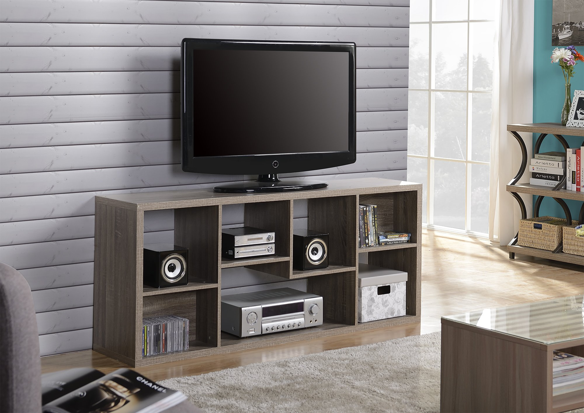 Homestar ZH1415771R 7 Compartment Shelving Console in Reclaimed Wood by Homestar