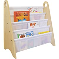 Wildkin Kids Modern Sling Bookshelf for Boys and Girls, Wooden Design Features Two Top Handles and Four Fabric Shelves…