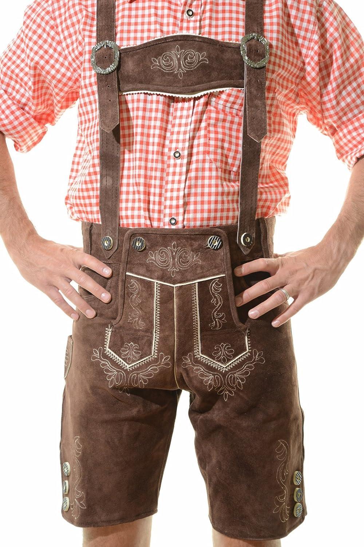 Oktoberfest Leather Trousers Sch/öneberger Mens Bavarian Lederhosen Brown