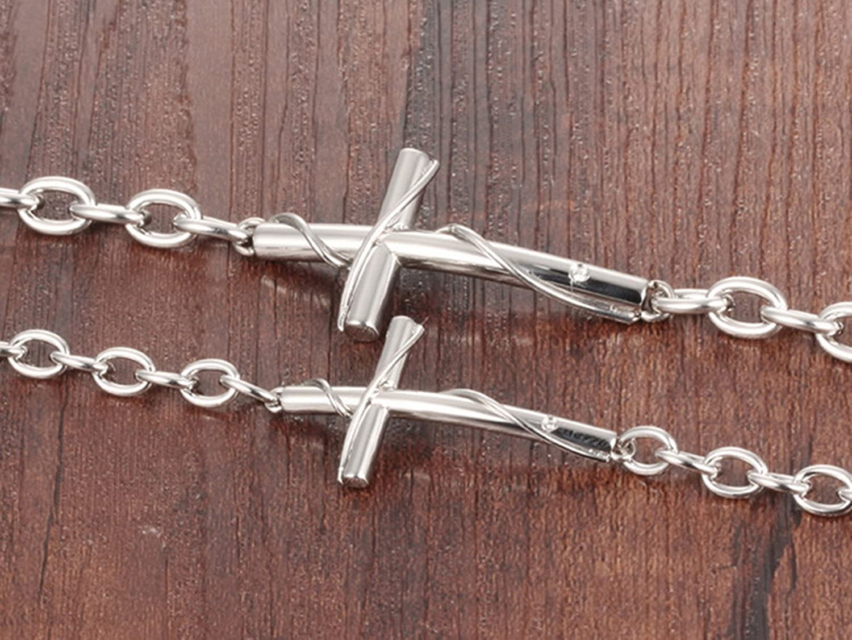 Beydodo 1pcs//1 Pair His Her Bracelet Silver Cross Bracelets Stainless Steel Bangle Women Men