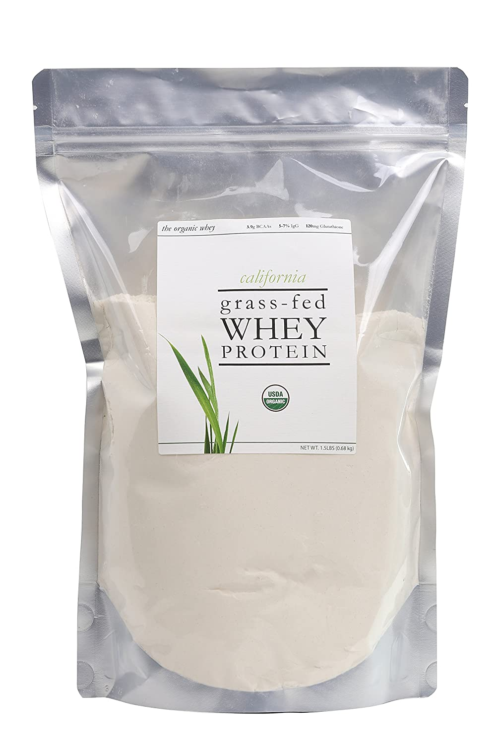 The Organic Whey Protein Powder – 100 Grass Fed Protein – Gluten-free, Non-GMO, USDA Certified Organic – Unflavored – Bulk Bag, 1.5 lbs
