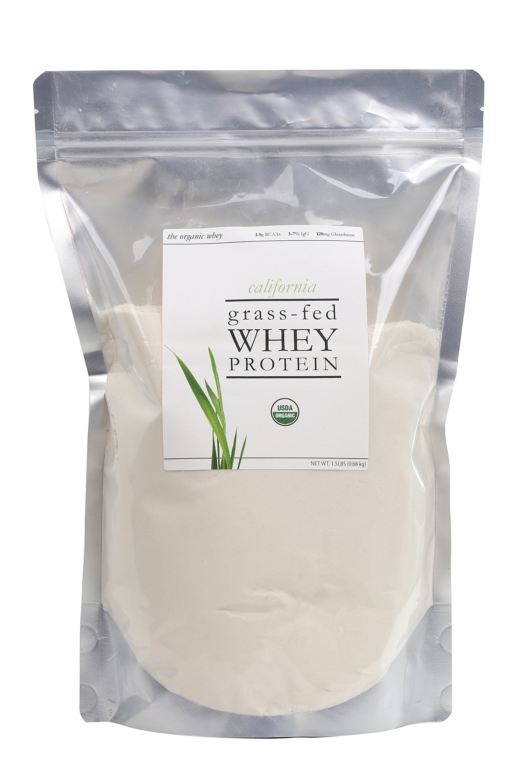 The Organic Whey Protein Powder - 100% Grass Fed Protein - Gluten-free, Non-GMO, USDA Certified Organic - Unflavored - Bulk Bag, 1.5 lbs by The Organic Whey
